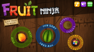 Title screen of Fruit Ninja on iOS