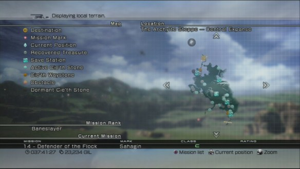 Final Fantasy XIII map screen