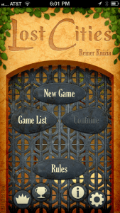 Title screen for Lost Cities for iOS