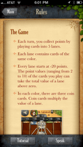 Rules page for Lost Cities with a Speak button at the bottom