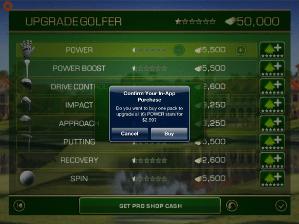 In-app purchase warning screen in Tiger Woods PGA Tour 12 for iOS