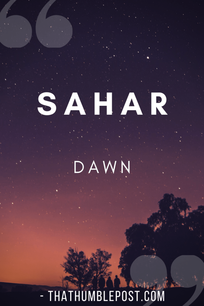 urdu word which means dawn is sahar