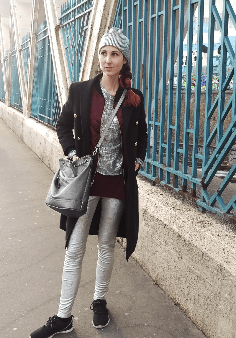 Silver gray metallic and red outfit – Paris Fashion Week RTW AW 17 streetstyle | that kind of style