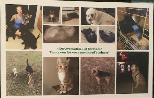 Holiday card from pet sitter