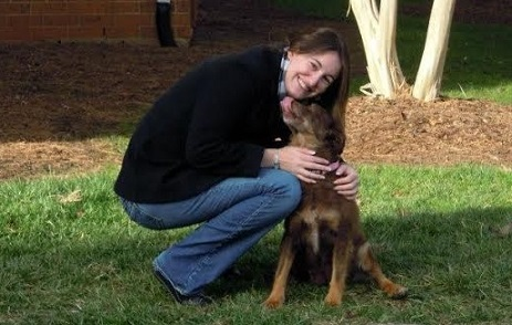 Woman with her adopted dog
