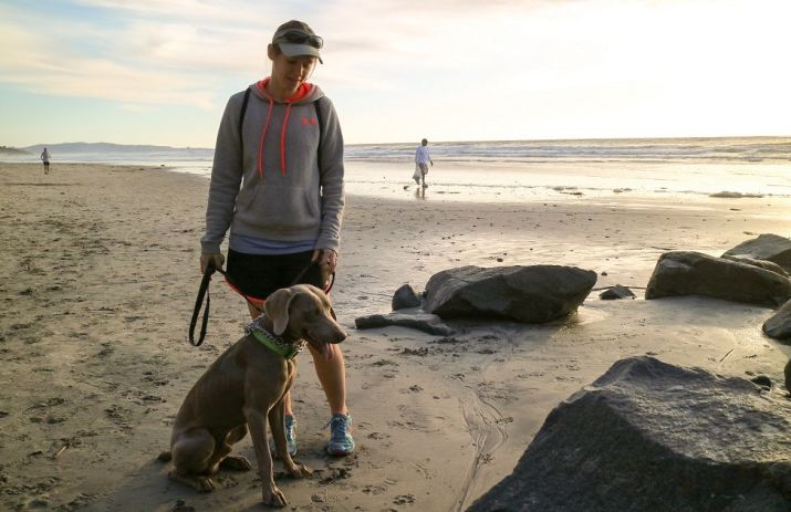Me with my dog Remy at the beach in San Diego. How to stop adult dog from play biting.