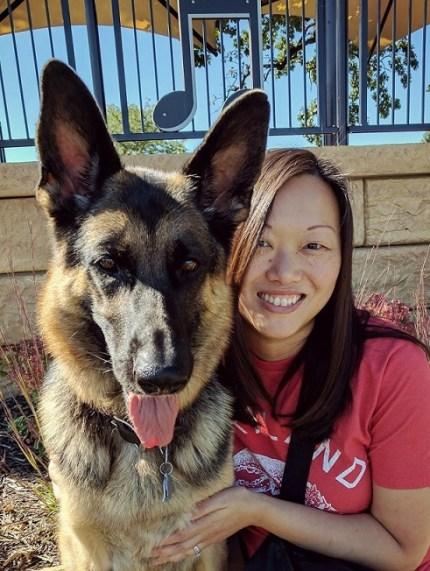 KL and her German shepherd