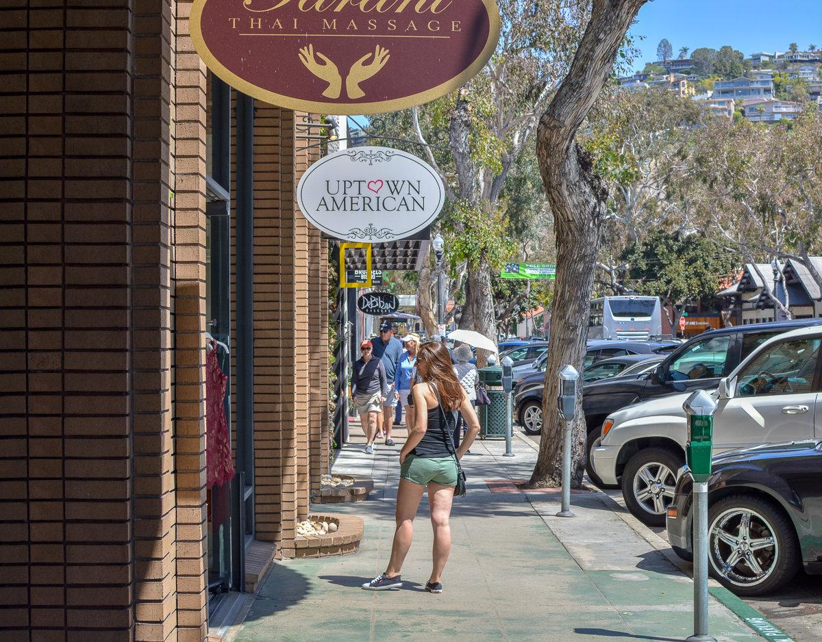 Shopping downtown Laguna Beach, California