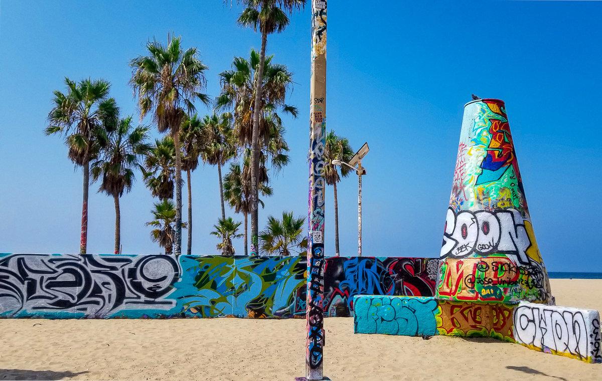 The graffiti art walls in Venice Beach, California