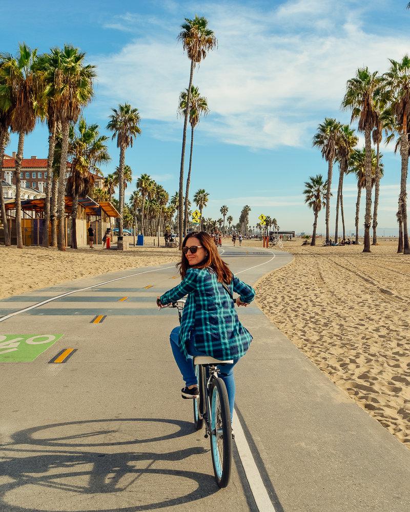 Riding a beach cruiser through Santa Monica, California