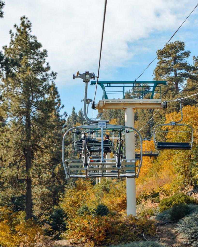 Ski lifts used for mountain bikes at Snow Summit Big Bear Lake