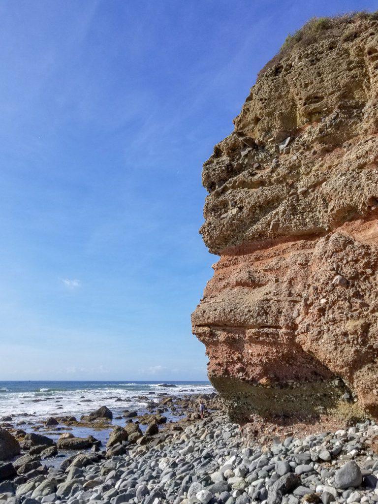 The rocky cliffside beach in Dana Point