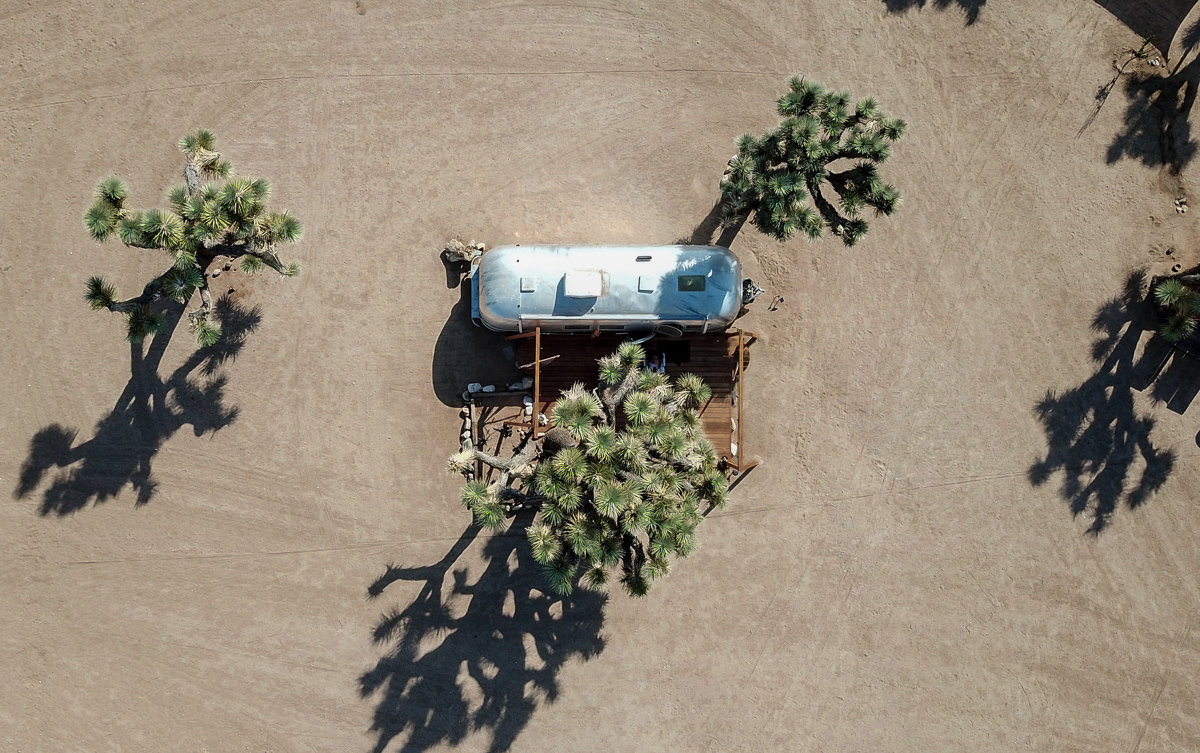 Drone shot view of the Joshua Tree Acres Airstream