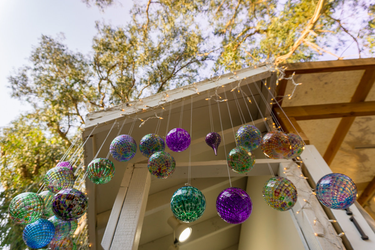 Hanging globes at the Sawdust Art Festival