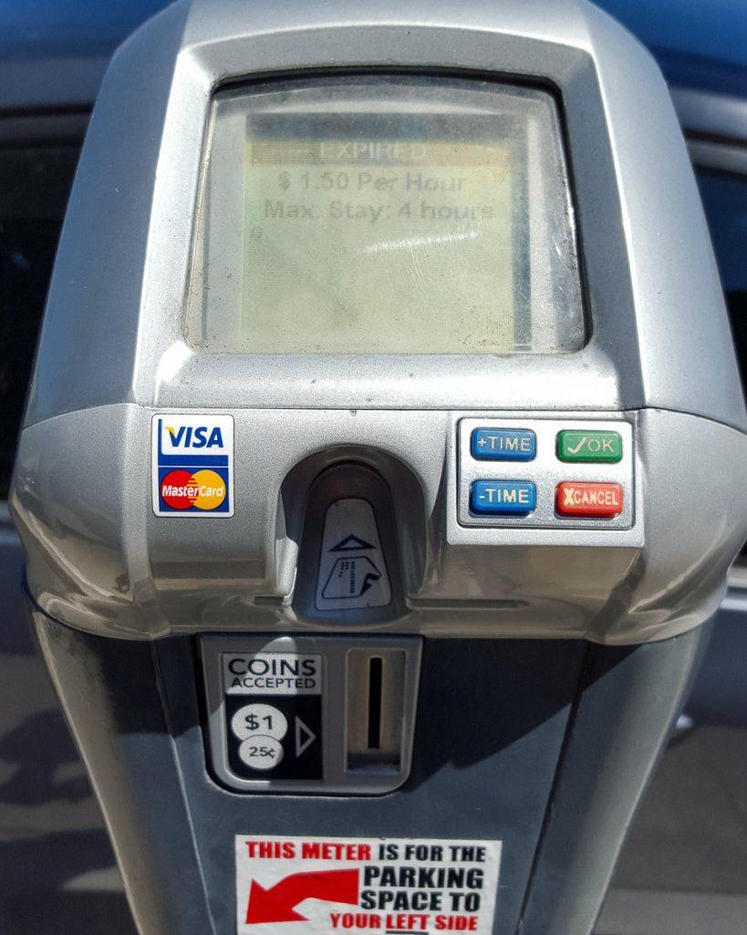 Parking meters in Laguna Beach, California