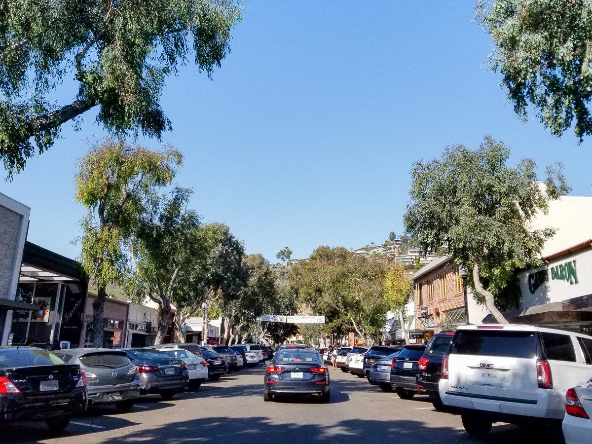Parking in downtown Laguna Beach, California