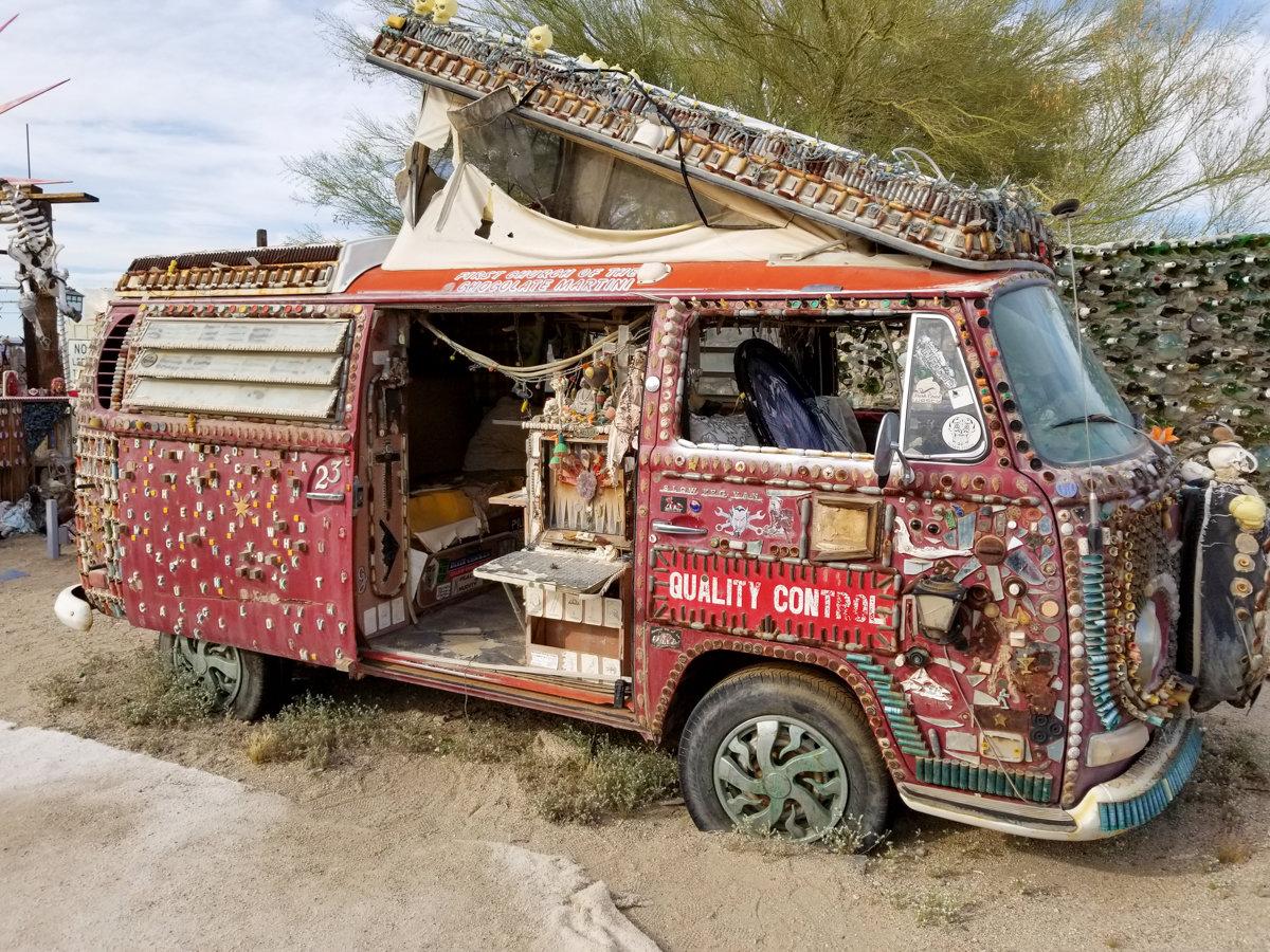 VW Bus art display in East Jesus