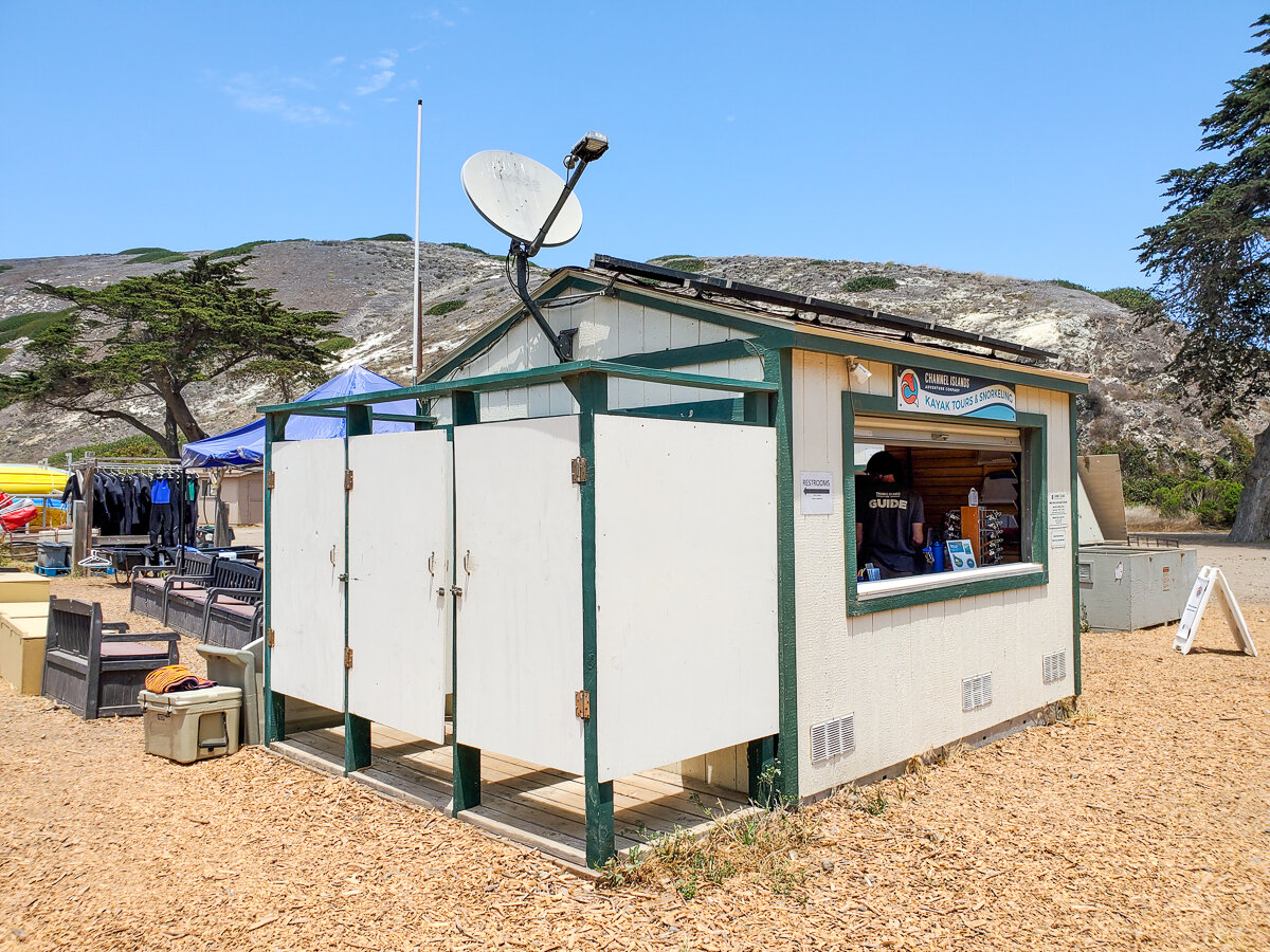 Channel Islands Kayak Tours changing room and store