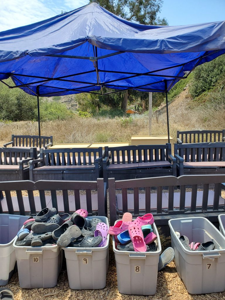 Channel Islands Kayak Tours water shoes and storage bins
