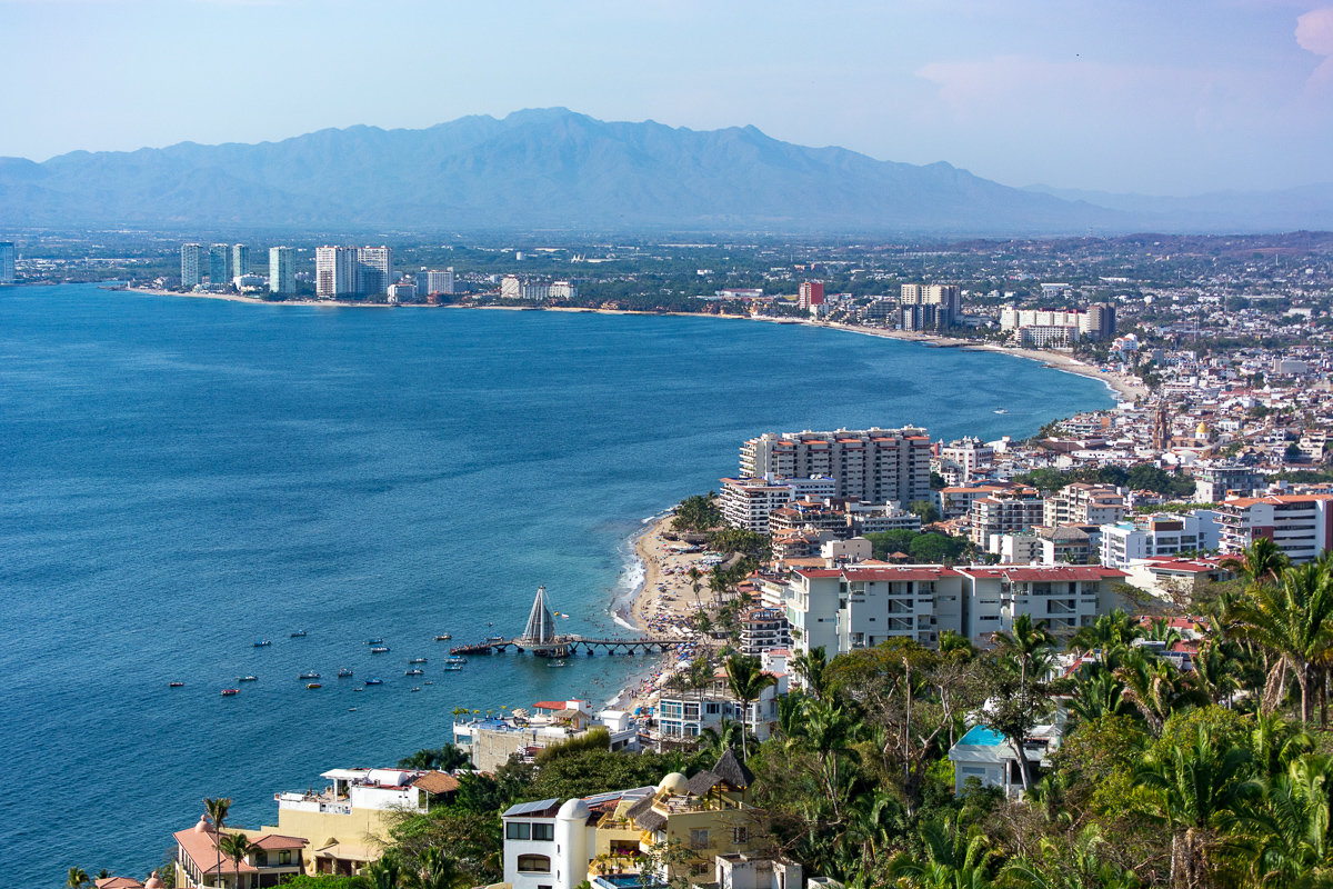 Overview of the Banderas Bay and city of Puerto Vallarta, Mexico