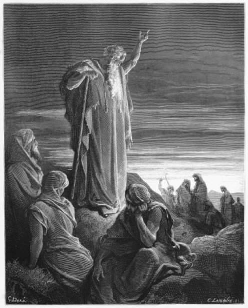 16102216 - the prophet ezekiel - picture from the holy scriptures, old and new testaments books collection published in 1885, stuttgart-germany. drawings by gustave dore.