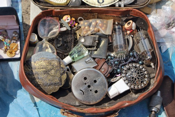 63187384 - antiques in the suitcase. flea market