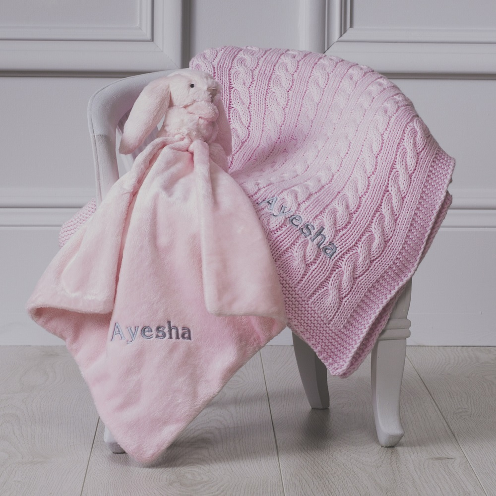 Personalised new baby blanket and comforter set