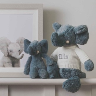 Personalised Jellycat grey bashful elephant soft toy