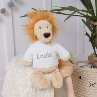 Personalised Jellycat bashful lion soft toy