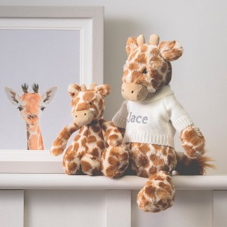 Personalised Jellycat bashful giraffe soft toy