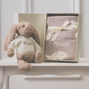 Personalised Jellycat beige bashful bunny and baby blanket gift set