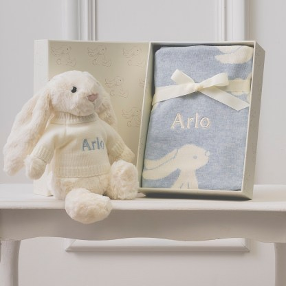 Personalised Jellycat cream bashful bunny and blue baby blanket gift set
