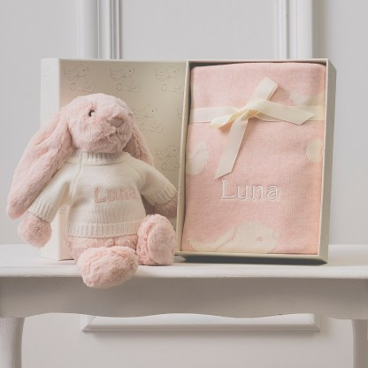 Personalised Jellycat pink bashful bunny and baby blanket gift set