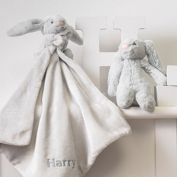 Personalised Jellycat grey bashful bunny comforter and soft toy gift set