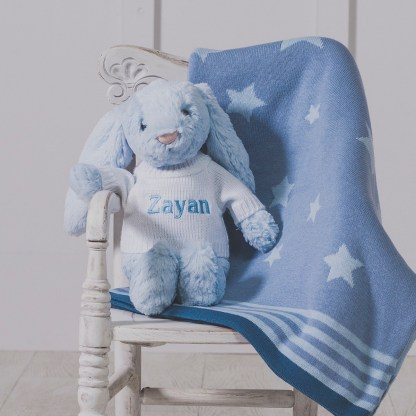 Personalised Jellycat blue bashful bunny and ziggle star baby blanket gift set