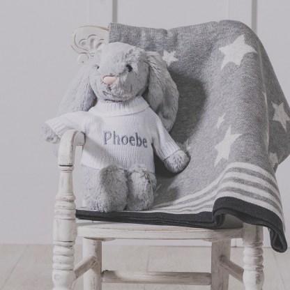 Personalised Jellycat grey bashful bunny and ziggle star baby blanket gift set