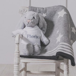 Personalised Jellycat grey bashful bunny and ziggle star baby blanket gift set