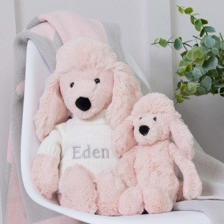 Personalised Jellycat Pink Bashful Poodle Soft Toy