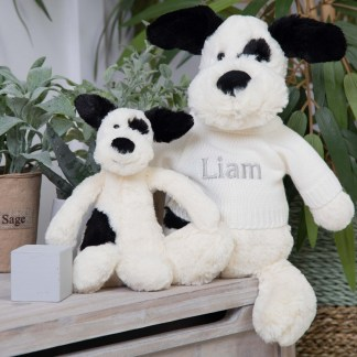 Personalised Jellycat Black and Cream Bashful Puppy Soft Toy