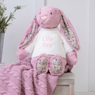 Personalised Jellycat Pink Blossom Bunny Large Soft Toy