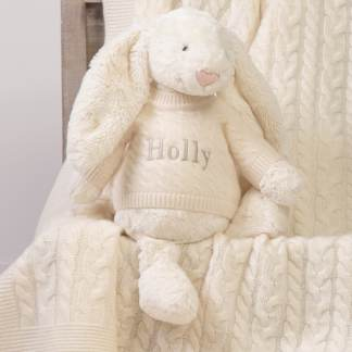 Personalised Jellycat Bashful Bunny Large With Cashmere Jumper