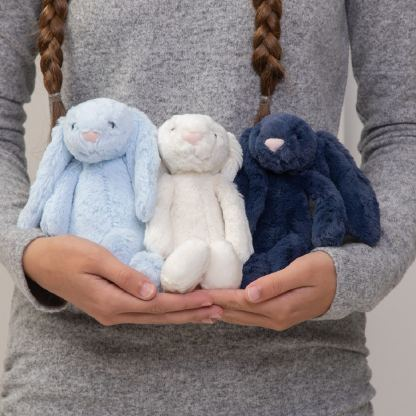 Jellycat bashful bunny small soft toy - pale blue, cream or navy