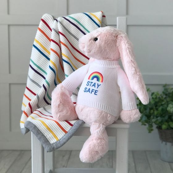 Jellycat large bashful bunny soft toy with 'Stay Safe' jumper in Pale Pink