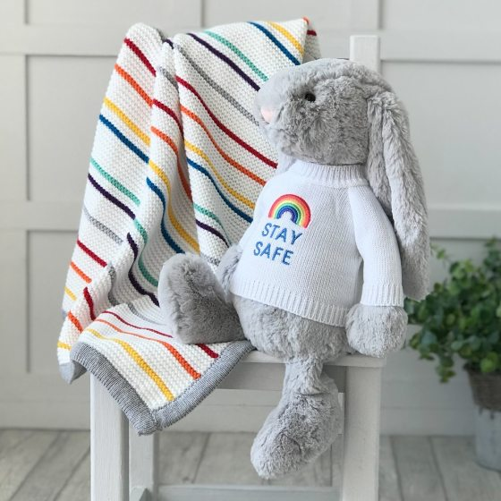 Jellycat large bashful bunny soft toy with 'Stay Safe' jumper in Silver
