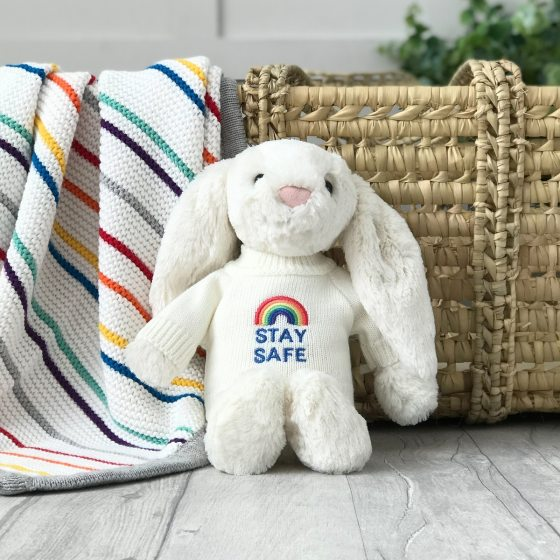 Jellycat medium bashful bunny soft toy with 'Stay Safe' jumper in Cream