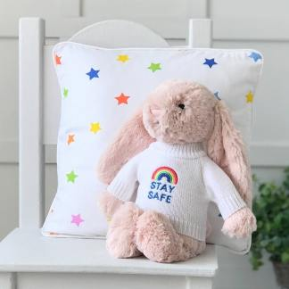 Jellycat medium bashful bunny soft toy with 'Stay Safe' jumper in Blush Pink