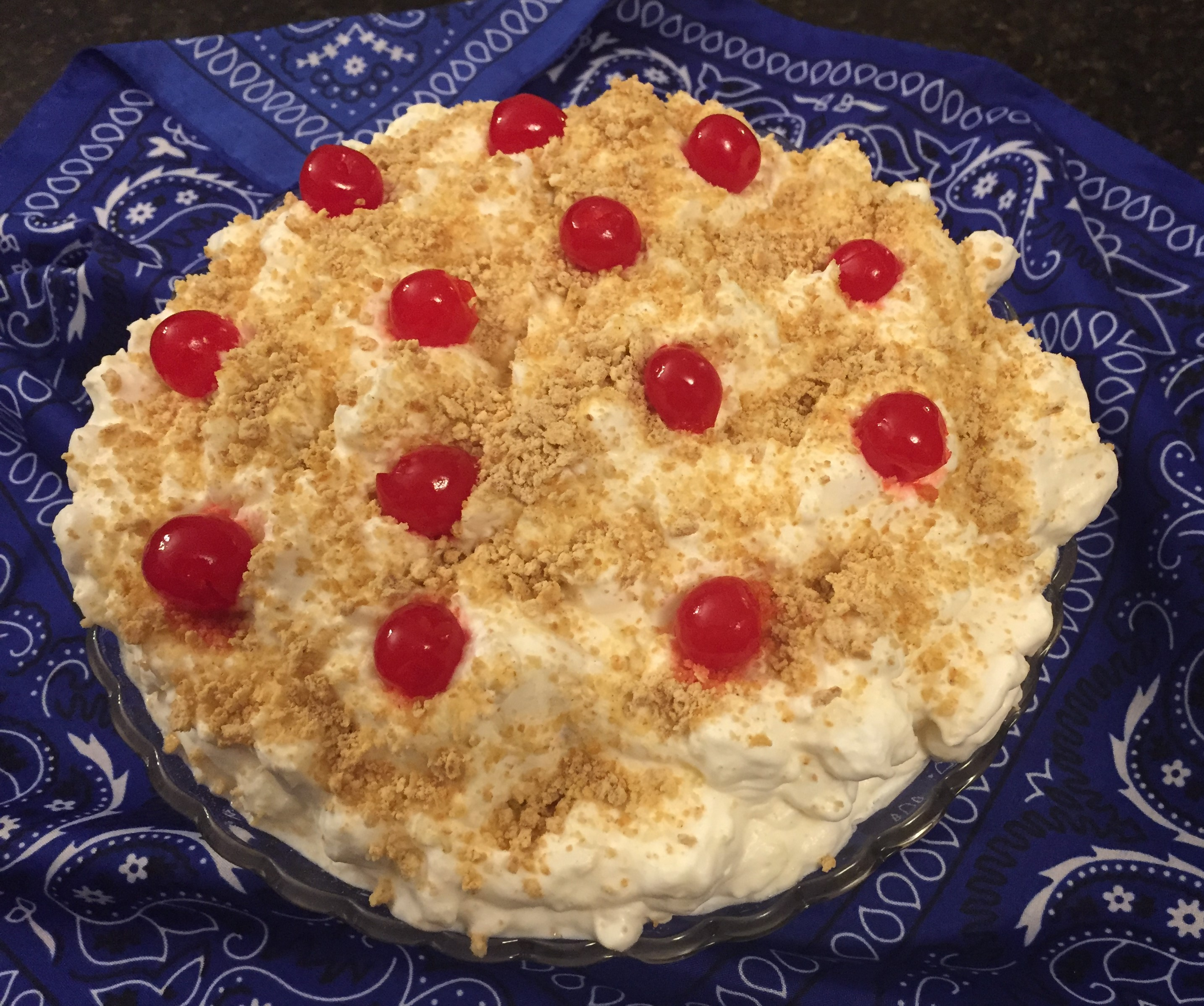 Whipped cream salad that is perfect for Christmas dessert!