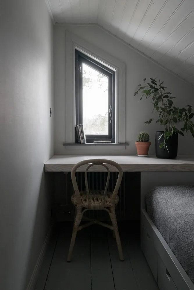 dark moody house swedish desk
