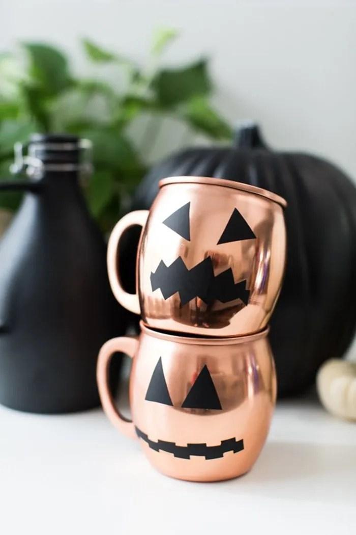 minimal halloween glassware copper pumpkin DIY