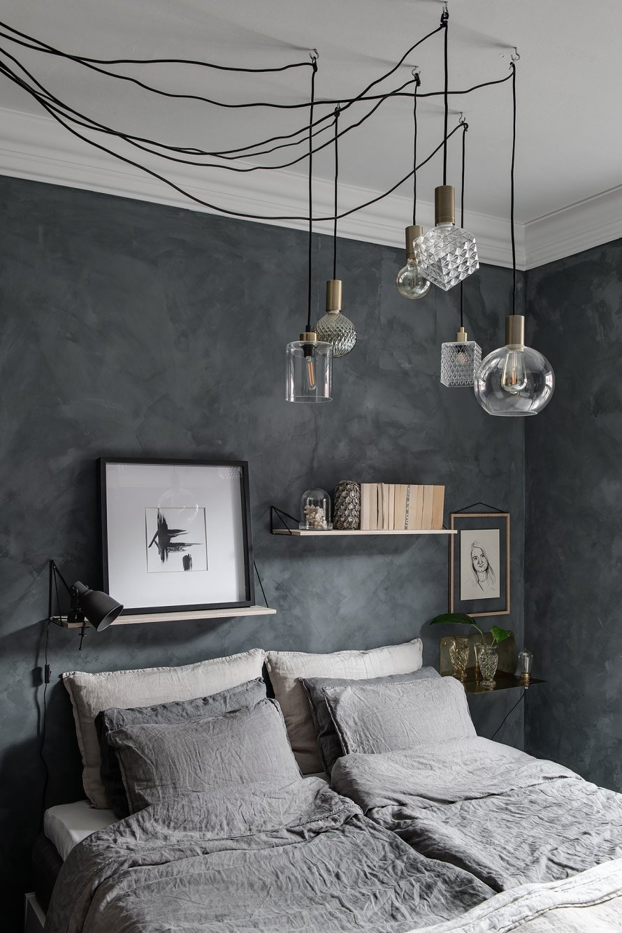 bedroom cozy blue ceiling lamps